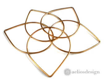Rose Gold Tear Drop Shaped Bangles- Three bangles made with Red Brass