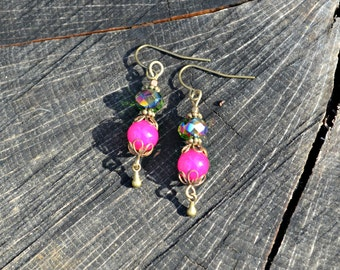 Hot Pink Earrings with Brilliant Green Bronze Purple Czech Glass Bead and brass bead accents handmade jewelry gift for her