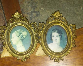 Gibson girls,  miniature cameo oval ornate frames