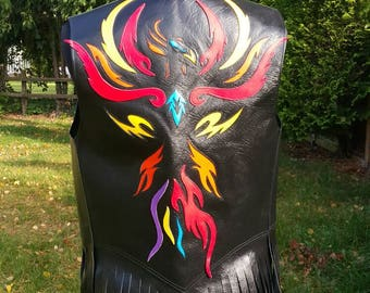 Fringed Leather Vest with Leather Phoenix Motif, Festival Fashion, Biker, Rock Chick Style