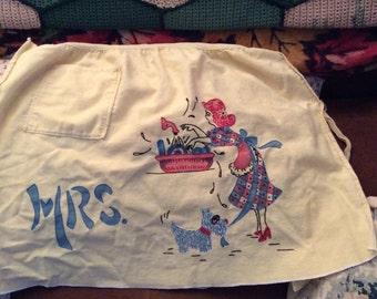 Mrs. apron, vintage apron, embroidered apron, halter apron, yellow apron