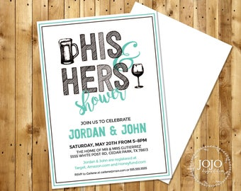 Couples Shower Invitation, Instant Download, His and Hers Shower Invite, Wedding Shower Digital Download