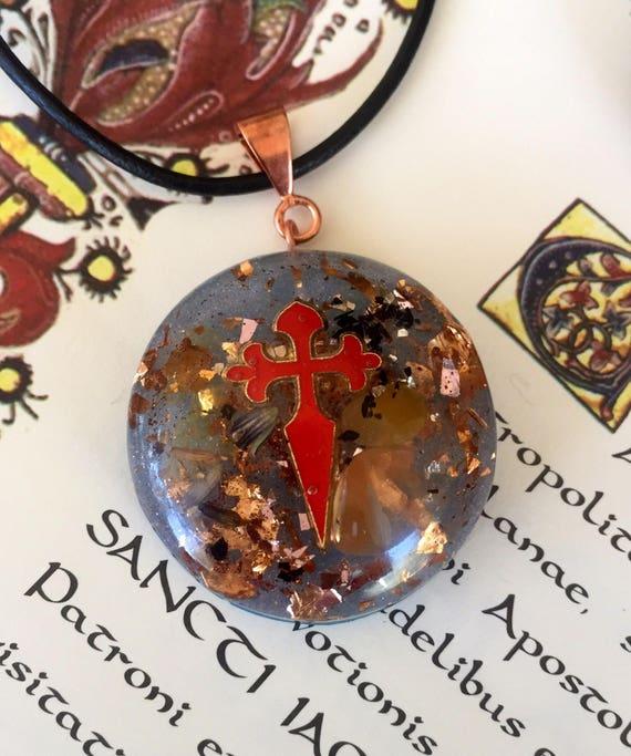 Camino De Santiago Orgonite Pendant- St. James Cross Necklace- Santiago Charm- Pilgrim's Necklace- Buen Camino- Santiago de Compostella