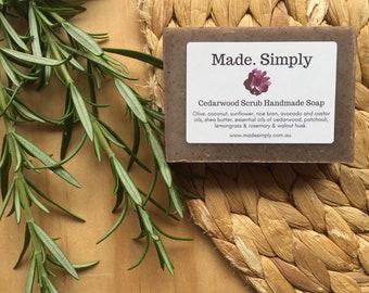 Cedarwood Scrub Handmade Soap with Patchouli, Lemongrass & Rosemary 100g