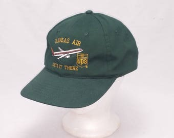 Vintage 1990s Trucker Ball Cap - Kansas Air Gets It There UPS -  Hipster, Rockabilly, Trucker, UPS, Retro, Accessories