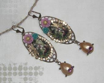 Vintage Tales from the enchanted forest earrings