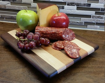 Wood cutting board cheese board medium small, walnut, maple, cherry, striped