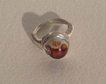 Handmade Wire Wrapped Ring - Silver Plated - Marbled Blue & Brown