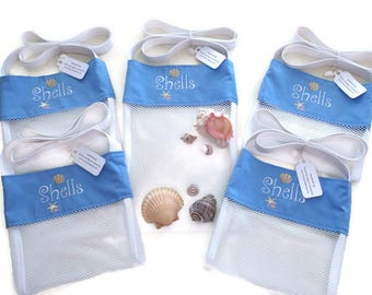 Sea Shell Bags, Destination Beach Wedding Gift Bags, Bridesmaid and Flower Girl Gift, Embroidered Designs, Seashell & Starfish Mesh Bags