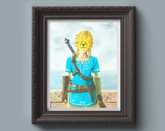 The LEGEND OF ZELDA Inspired Art Print - Painting, Rene Magritte, Video Game Gift, Wall Art, Surrealist, Parody, Gift for Him