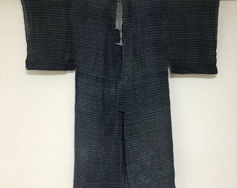 Handmade Vintage Japanese Indigo Hemp Kasuri Kimono -- fabric-2173
