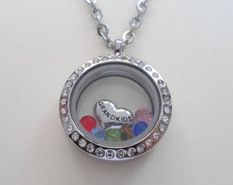 Floating Charm Locket Necklace, Birthstones Necklace, Grandma Necklace of Her Grandkids, Mom Necklace, Daughter, Personalized Necklace Gift
