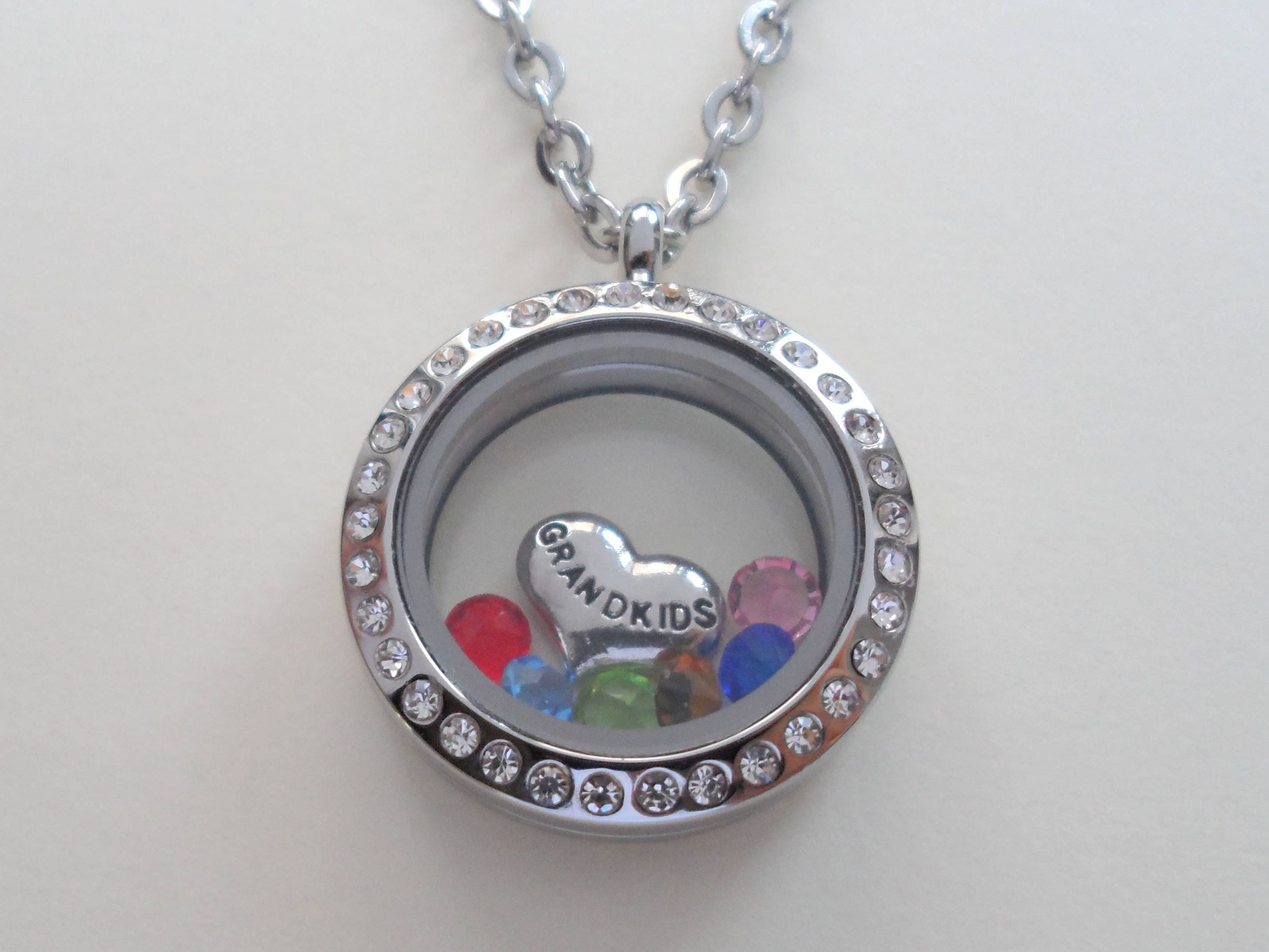 necklaces family birthstone necklace wid heart grandkid product silver sterling