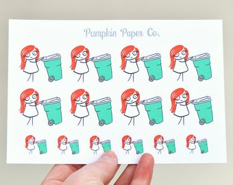 P117 - Garbage planner stickers, planner stickers, garbage reminder stickers, take out trash stickers, 14 stickers, PPC33