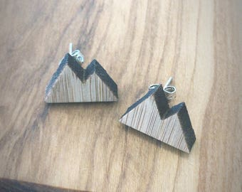 Wooden Mountain Range Silver Stud Earrings - Peak, Snow, Mountains, Canada