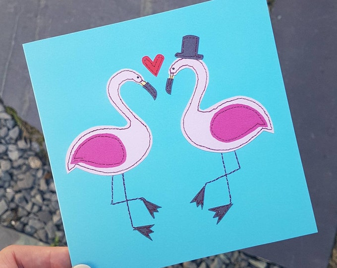 Pink Flamingo Wedding Card • Blank Inside  • Printed from Original Stitched Artwork • 6 inch square with brown kraft envelope • 300gsm