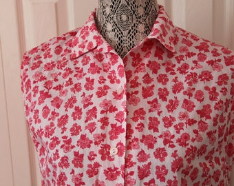 1960s Womens Pink Floral Blouse Large