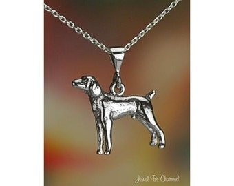 "Sterling Silver Weimaraner or Vizsla Necklace 16-24"" Chain or Pendant"
