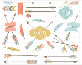 Clipart - Tribal Arrows / American Indian / native American, feathers, hipster clipart, tribal arrows, ethnic arrows, boho clipart, bohemian