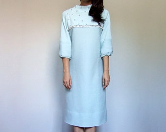 Pastel Blue Dress Vintage 70s Dress Beaded Dress Knit Dress Three Quarter Sleeve Winter Dress Light Blue Shift - Medium to Large M L