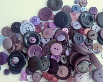Shades Of Purple Violet Button Lot / 150 Assorted Sizes Shapes / Plastic Sew-Threw Shanked Fabric / Craft Supply / Vintage Sewing