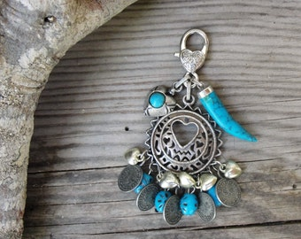 Oriental Coin Keychain / Bag Chain with Vintage Materials