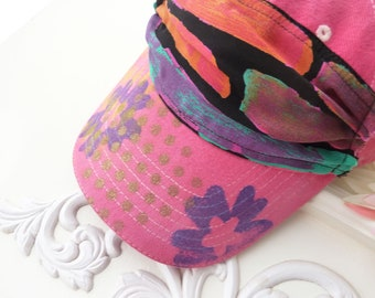 Hand painted baseball cap, artsy hat, cotton, visor, OOAK, hiking, beach, wearable art hat, sport hat, upcycled, streetwear, pink, flower