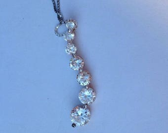 """Vintage! Absolute brand 17.5"""" sterling silver chain & pendant with 7 graduated cz stones"""
