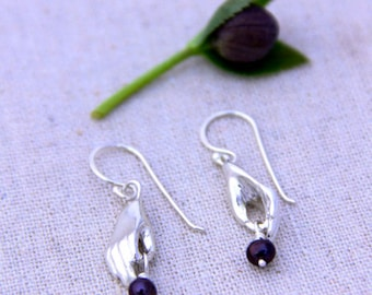 Handmade Silver Hand and Raven's Wing Purple Pearl Earrings