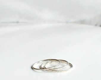 SKINNY Stacking rings - Sterling Silver rings - TEXTURE Collection - Hammered silver - Thin and graphic