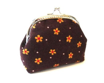 Metal frame purse orange flower on brown cotton fabric, silver kiss lock clasp bag, brown frame clutch bag, brown snap coin pouch