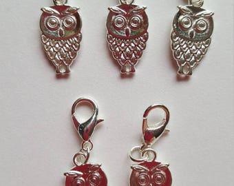 Set of 5 Silver Plated Owl Stitch Markers / Progress Keepers