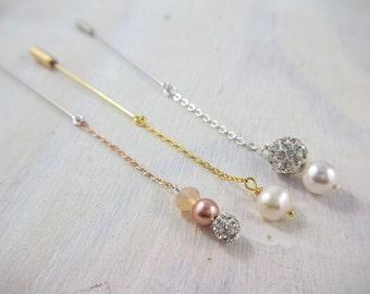 Simple Hijab Pin Set - Eid Gift - Ramadan Gift - Rose Gold Swarovski Pearl hijab pins muslim gift