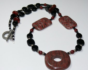 Red Jasper Pendant with Rectangles & Black Beaded Handmade Necklace