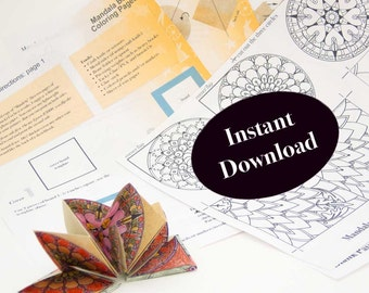 How to Make the Artist Book: Mandala, DIY Coloring Project, Artist Book Pattern, Folded Origami Book Instructions, Instant PDF Download