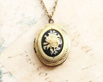 Locket Necklace Ivory and Black Flower Cameo Pendant Antique Gold Brass Photo Picture Locket Vintage Style Romantic Gift For Mother