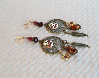 Earring ethnic chic bohemian spirit bronze, attaches in 18 carat gold