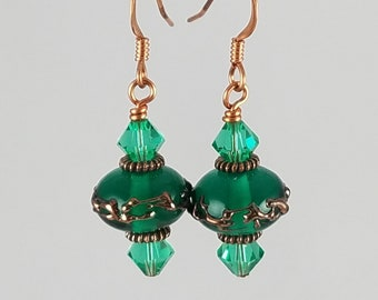 SALE! Green and Copper Earrings