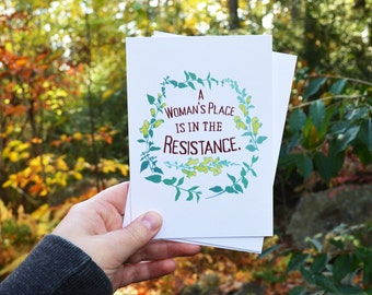 Feminist Postcard: A Woman's Place Is In The Resistance, feminist art, feminism, resist