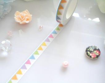Bunting Flag Washi Tape- Slim Stationery Masking Deco Tape
