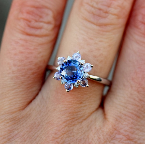 Blue Snow Flake Engagement Ring. Blue Sapphire ring. Round Blue sapphire ring Diamond ring White gold ring engagement ring by Eidelprecious