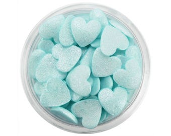 Light Turquoise Shimmer Heart Sprinkles - pretty pearlescent light aqua hearts sprinkles for decorating cupcakes, cakes, cookies