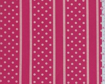 Bright Coral Dot/Stripe Stretch Twill, Fabric By The Yard