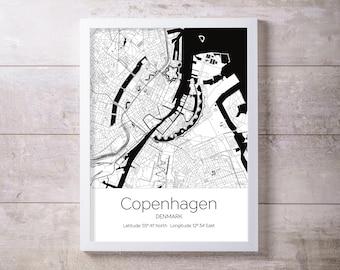 Copenhagen Denmark City Map Wall Art Prints