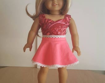 "Crop Top & Circle Skirt For American Girl Doll Or Any Other 18"" Soft-Bodied Doll"
