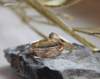 Unique wedding bands, gold wedding ring, textured wedding ring, modern wedding band, wedding band set, rustic wedding ring