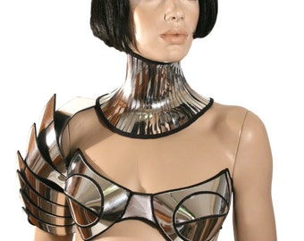 customized , rave bra, cybergoth bra, lady gaga, futuristic clothing, fantasy, burlesque, pin up divamp couture
