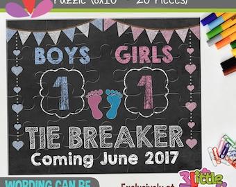 "Personalized Pregnancy Tie Breaker Puzzle - Personalized 8"" x 10"" Puzzle - Gender Reveal Announcement Puzzle - Pregnancy Chalkboard Puzzle"