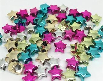 200pcs 11mm Silver/Mixed Metallic Shiny Star Shaped Pony Beads Craft Plastic Christmas Bead For Hair Jewelry Dummy Beading