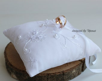 White lace wedding ring bearer pillow-ring bearer, ring cushion, ready to ship